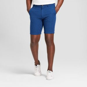 Men's 10.5 Patterned Linden Flat Front Shorts - Goodfellow & Co Blue Dobby 32