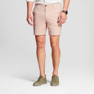 Men's 7 Linden Flat Front Chino Shorts - Goodfellow & Co Peach (Pink) 36