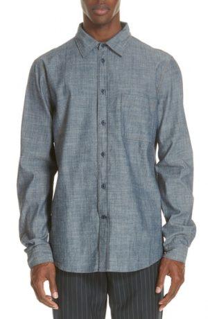 Men's Acne Studios Road Chambray Sport Shirt, Size 46 EU - Blue