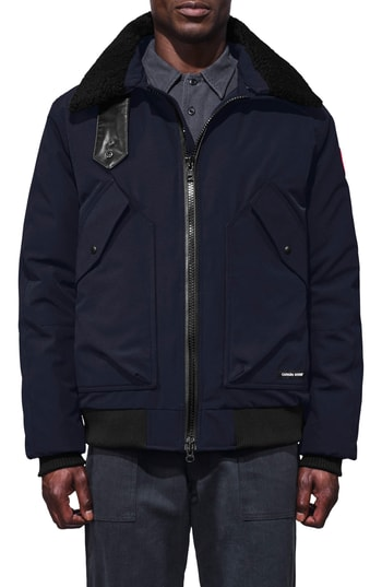 Men's Canada Goose Bromley Slim Fit Down Bomber Jacket With Genuine Shearling Collar, Size Small - Blue