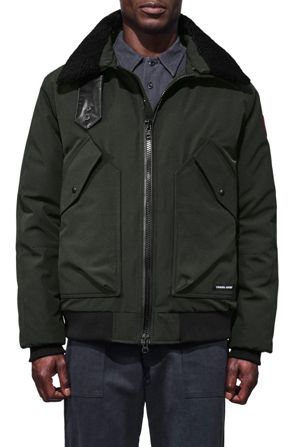 Men's Canada Goose Bromley Slim Fit Down Bomber Jacket With Genuine Shearling Collar, Size Small - Grey