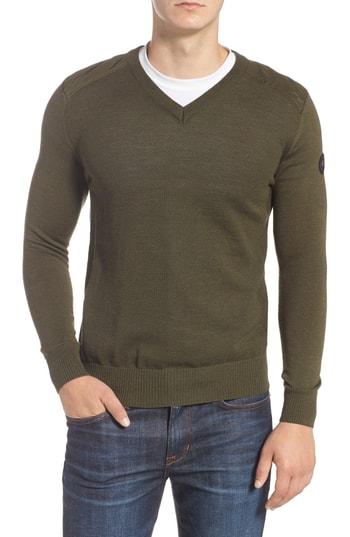 Men's Canada Goose Mcleod V-Neck Regular Fit Merino Wool Sweater, Size Small - Green
