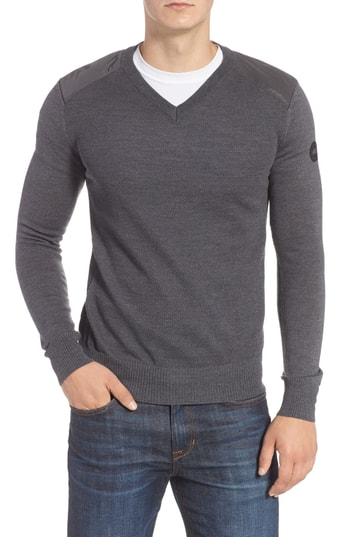 Men's Canada Goose Mcleod V-Neck Regular Fit Merino Wool Sweater, Size Small - Grey