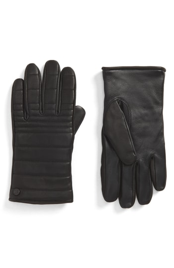 Men's Canada Goose Quilted Leather Gloves With Faux Fur Lining, Size Small - Black