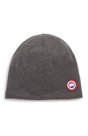 Men's Canada Goose Standard Wool Blend Beanie - Grey