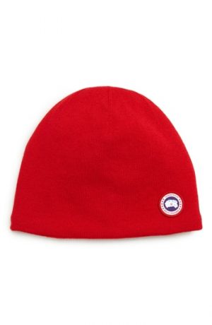Men's Canada Goose Standard Wool Blend Beanie - Red