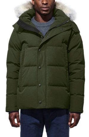Men's Canada Goose Wyndham Slim Fit Genuine Coyote Fur Trim Down Jacket, Size X-Small - Green