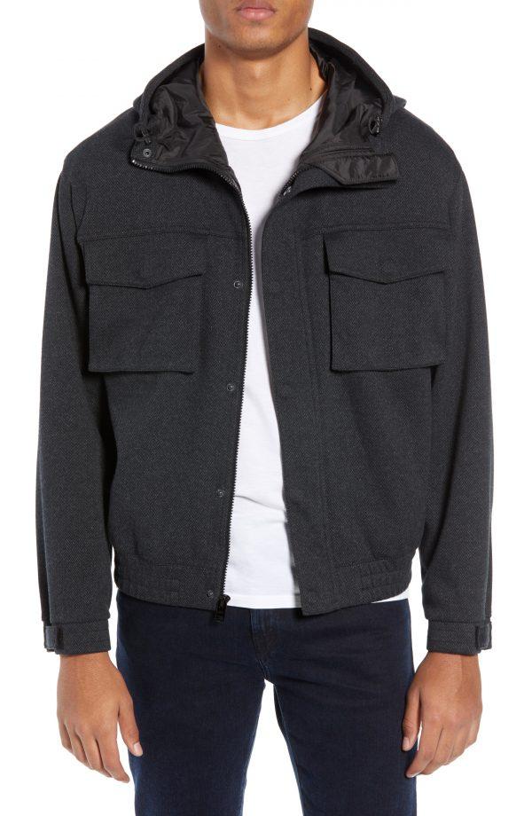 Men's Club Monaco Herringbone Tech Jacket, Size Large - Grey