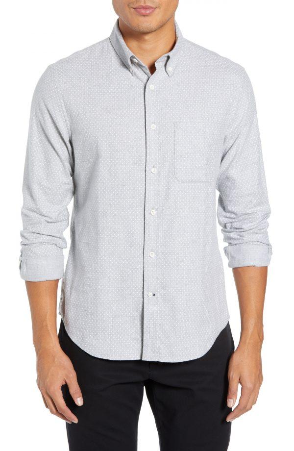 Men's Club Monaco Polka Dot Cotton Flannel Sport Shirt, Size X-Small - Grey