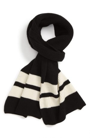 Men's Club Monaco Sport Stripe Wool Scarf, Size One Size - Black