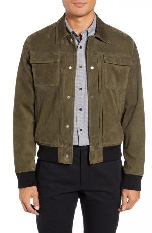 Men's Club Monaco Suede Trucker Jacket, Size Small - Green