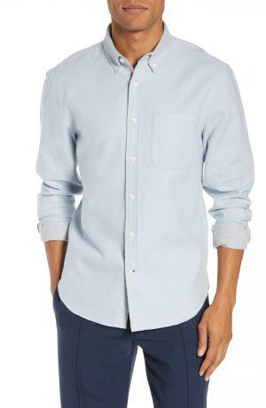 Men's Club Monaco Trim Fit Double Face Twill Sport Shirt, Size X-Large - Blue
