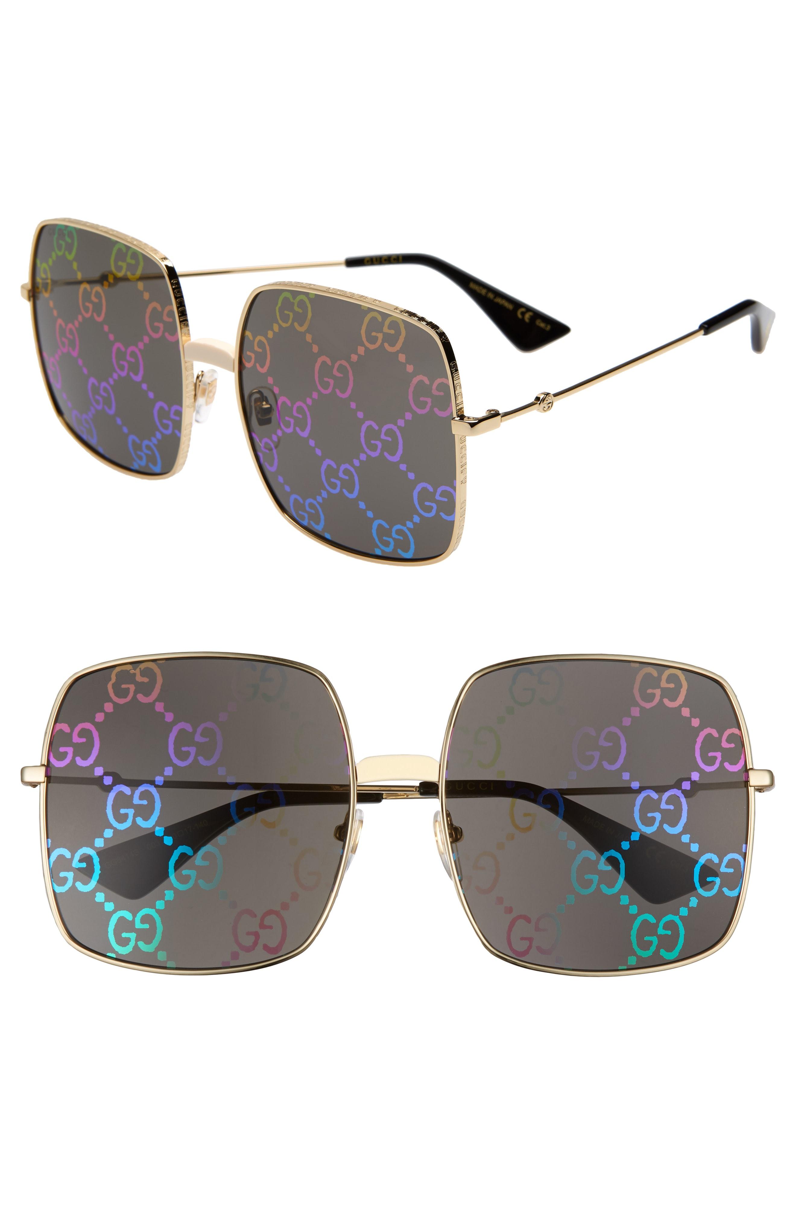 75dbcf9830 Men s Gucci 60Mm Square Sunglasses – Gold  Black