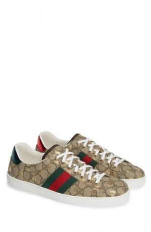Men's Gucci New Ace Gg Supreme Sneaker, Size 6US / 5UK - Beige