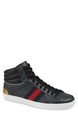 Men's Gucci New Ace High Gg Supreme Sneaker, Size 6US / 5UK - Black