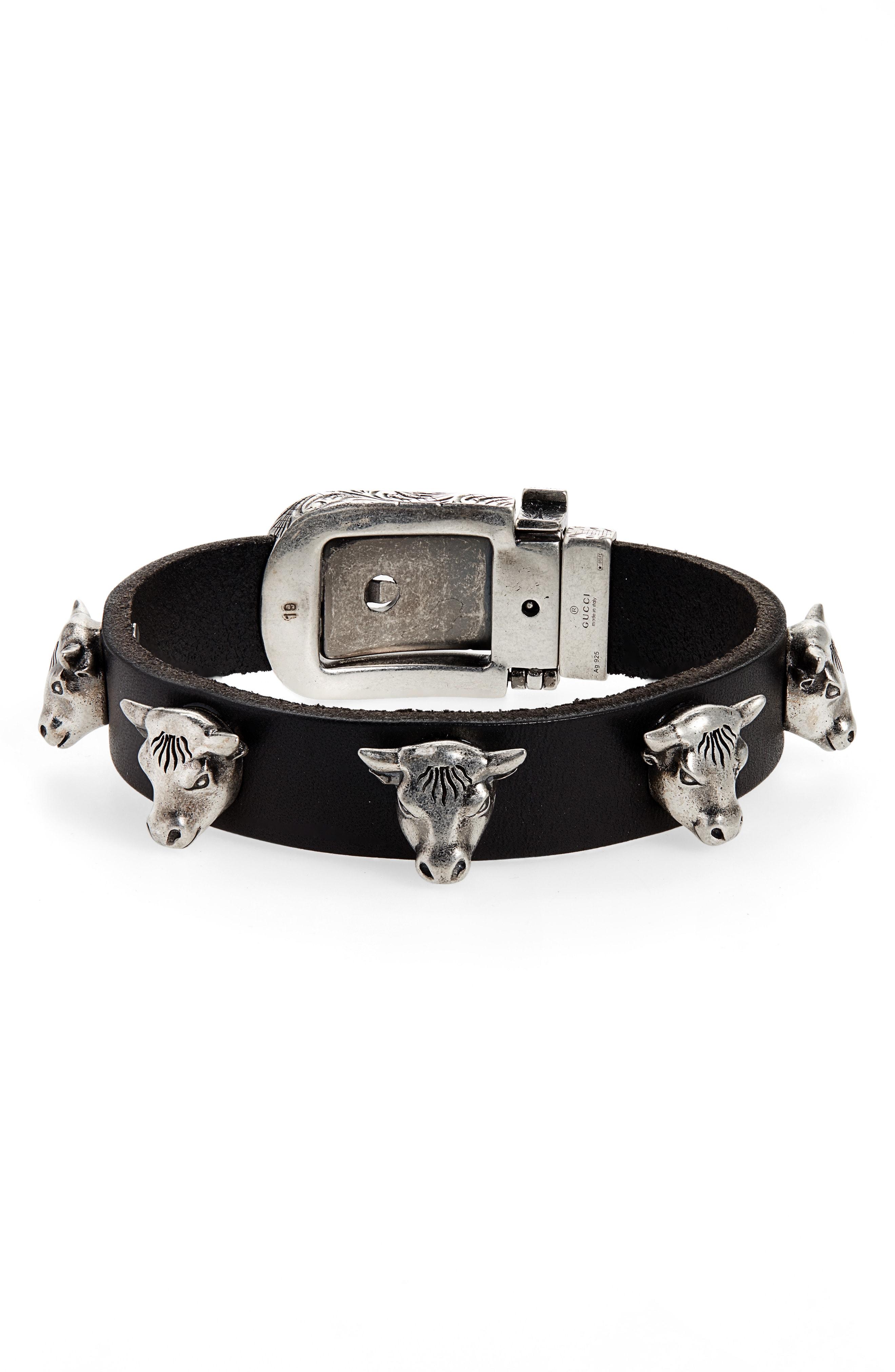 Men S Gucci Sterling Silver Stud Leather Bracelet
