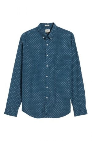 Men's J.crew Slim Fit Stretch Secret Wash Crosshatch Print Sport Shirt, Size XX-Large - Blue
