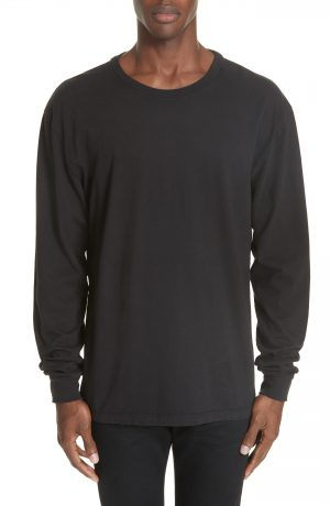 Men's John Elliott Long Sleeve Crewneck T-Shirt, Size Small - Black
