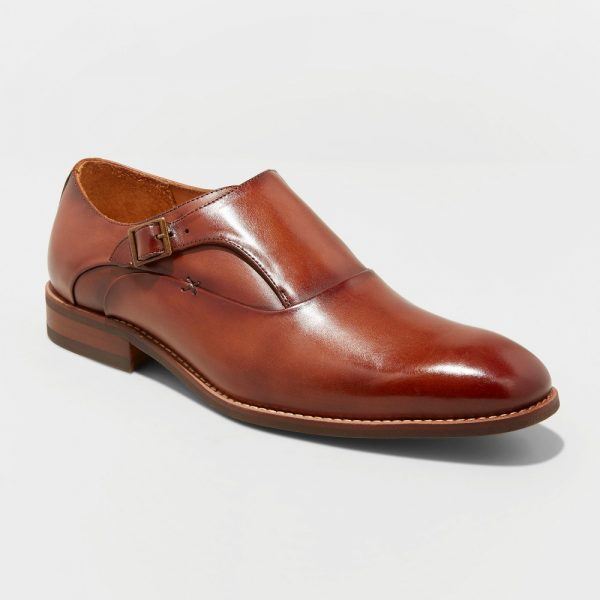 Men's Keanu Leather Monk Strap Dress Shoes - Goodfellow & Co Tan 8, Brown
