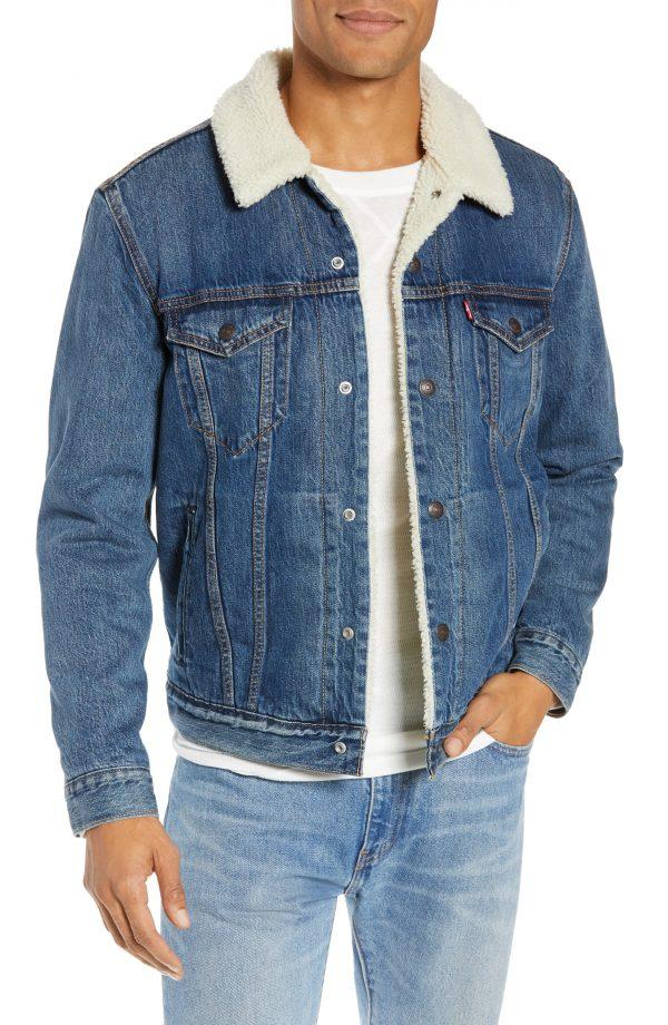 Men's Levi's Faux Shearling Trim Denim Trucker Jacket, Size Small - Blue