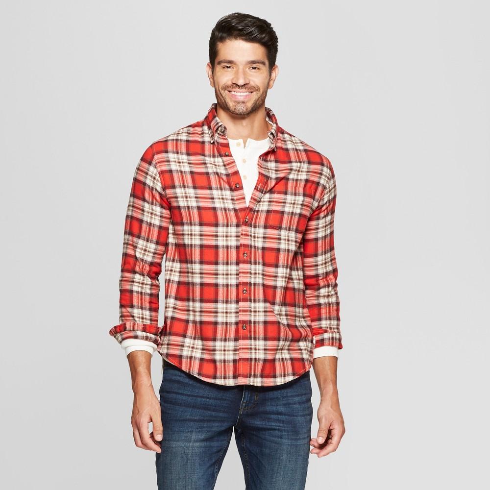 815ffdaf866a Men s Plaid Standard Fit Long Sleeve Pocket Flannel Button-Down Shirt –  Goodfellow   Co Orange 2XL
