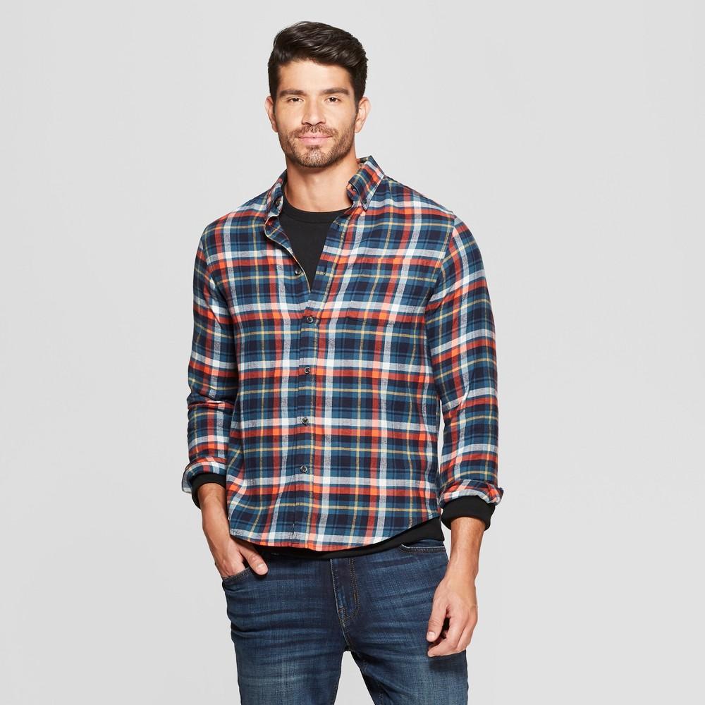 46853b2d791f Men s Plaid Standard Fit Long Sleeve Pocket Flannel Button-Down Shirt –  Goodfellow   Co Underseas Teal XL