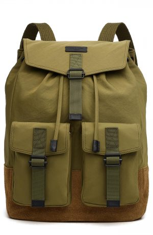 Men's Rag & Bone Field Water Resistant Nylon & Leather Backpack - Green