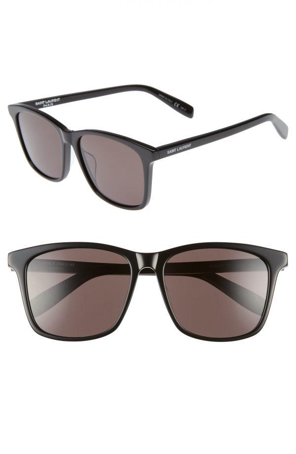 Men's Saint Laurent 205/k 57Mm Sunglasses - Black