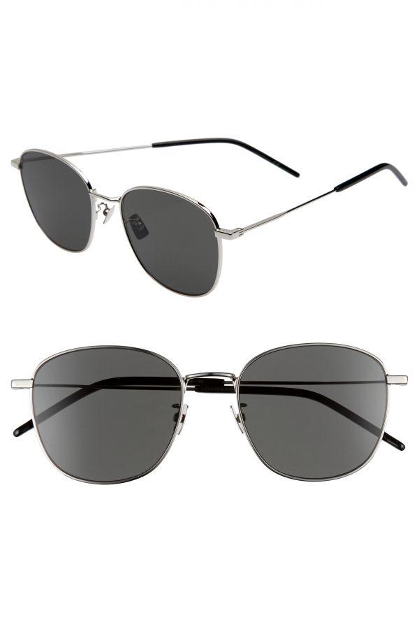 Men's Saint Laurent 56Mm Square Sunglasses - Silver