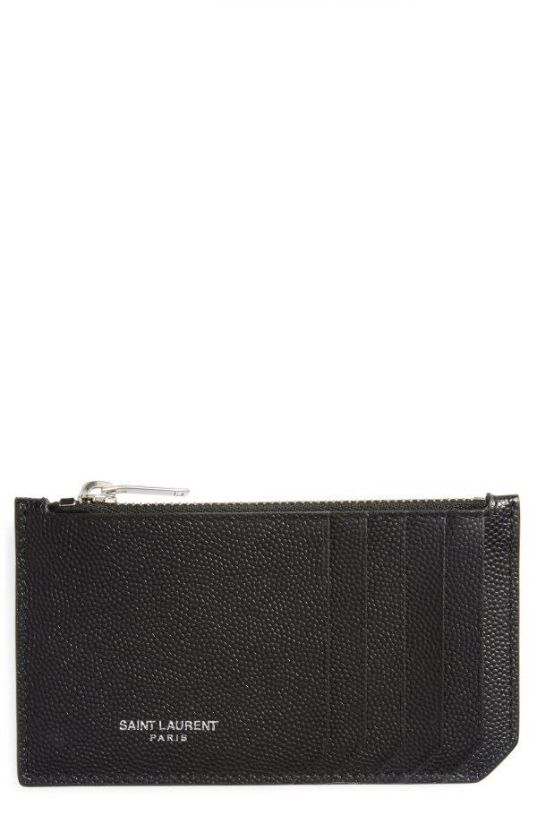 Men's Saint Laurent Pebble Grain Leather Zip Wallet -