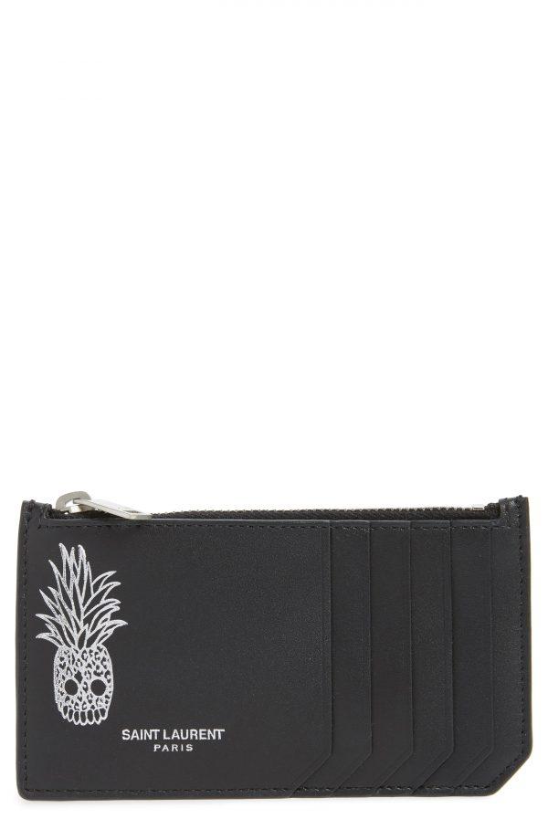 Men's Saint Laurent Pineapple Skull Leather Zip Card Case - Black