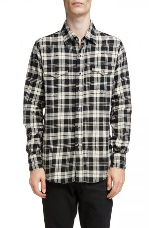 Men's Saint Laurent Plaid Twill Western Shirt, Size Small - Black