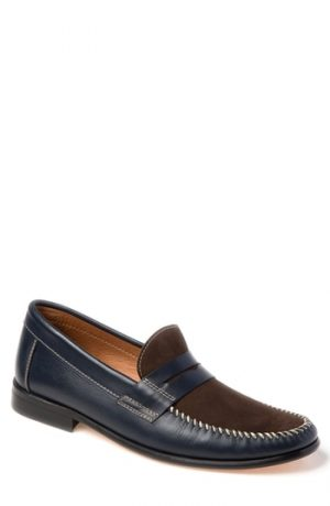 Men's Sandro Moscoloni Hugo Moc Toe Penny Loafer, Size 7.5 D - Blue