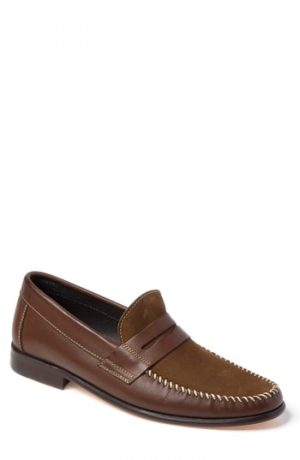 Men's Sandro Moscoloni Hugo Moc Toe Penny Loafer, Size 7.5 D - Brown