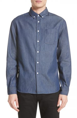 Men's Saturdays Nyc Crosby Denim Slim Fit Sport Shirt, Size Small - Blue
