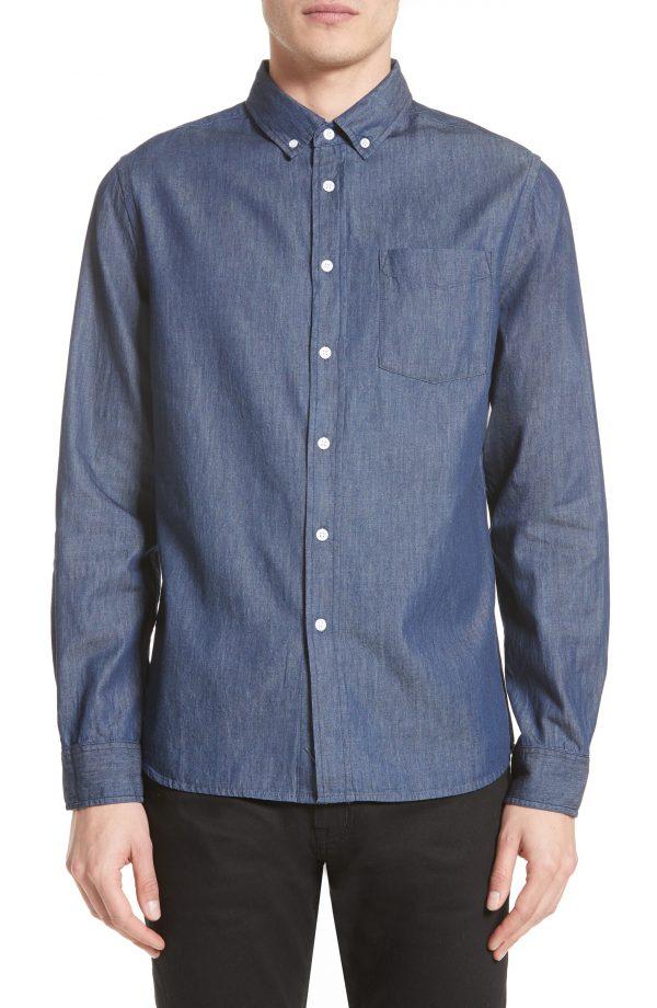 Men's Saturdays Nyc Crosby Denim Slim Fit Sport Shirt, Size Small - Blue