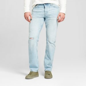 Men's Slim Straight Fit Selvedge Denim - Goodfellow & Co Light Wash 29x32, Blue