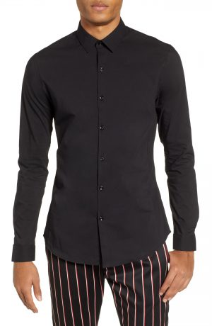 Men's Topman Stretch Woven Shirt, Size Large - Black