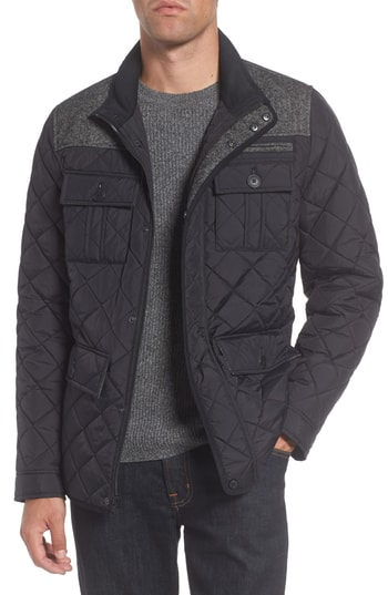 Men's Vince Camuto Diamond Quilted Full Zip Jacket, Size Small - Black (Online Only)