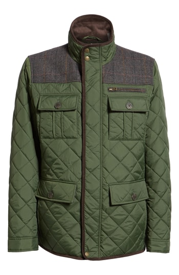 Men's Vince Camuto Diamond Quilted Full Zip Jacket, Size Small - Green (Online Only)