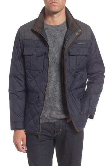 Men's Vince Camuto Diamond Quilted Full Zip Jacket, Size X-Large - Blue (Online Only)