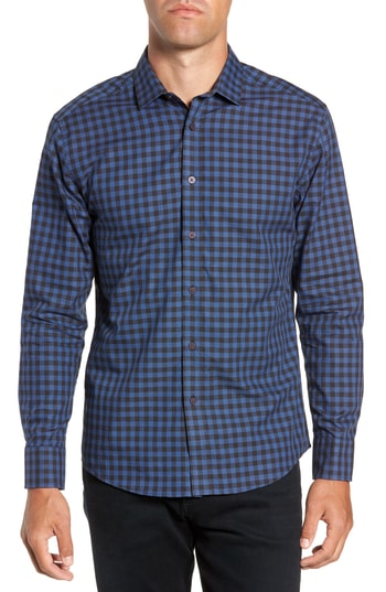 Men's Vince Camuto Long Sleeve Check & Dobby Sport Shirt, Size Small - Blue