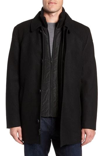 Men's Vince Camuto Melton Car Coat With Removable Bib, Size Large - Black