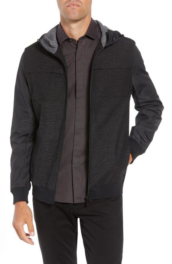 Men's Vince Camuto Mixed Media Slim Windbreaker Jacket, Size Small - Grey