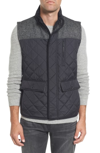 Men's Vince Camuto Quilted Vest, Size Small - Black