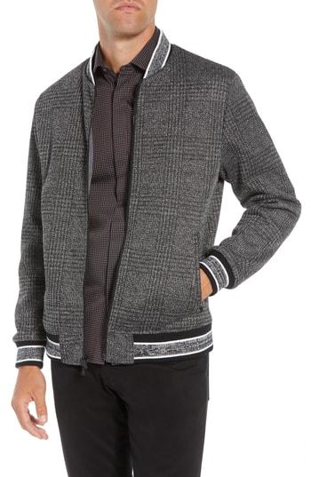 Men's Vince Camuto Slim Fit Plaid Knit Bomber Jacket, Size X-Large - Black