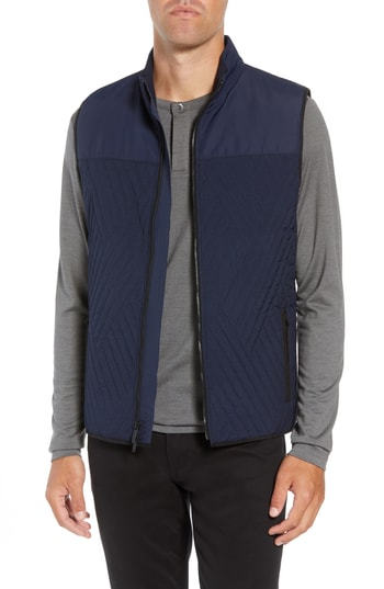 Men's Vince Camuto Slim Fit Quilted Vest, Size Small - Blue
