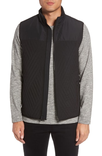 Men's Vince Camuto Slim Fit Quilted Vest, Size X-Small - Black