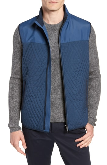 Men's Vince Camuto Slim Fit Quilted Vest, Size X-Small - Blue
