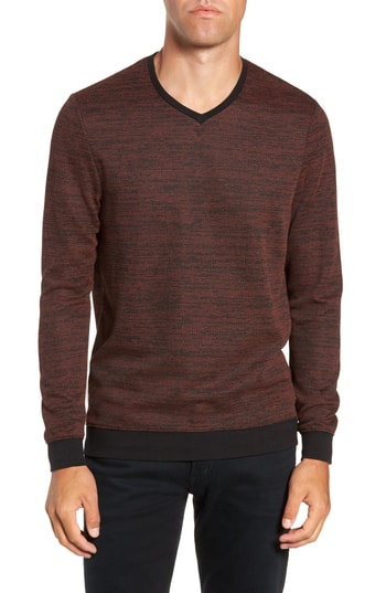 Men's Vince Camuto Trim Fit Melange Pullover, Size X-Large - Orange